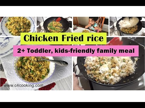 Quick Chicken Fried Rice - Indian Style ( 2+ Toddler, Kids-friendly Family Meal )