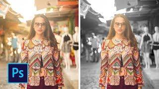 Как сделать чёрно белое фото с цветным объектом в фотошопе