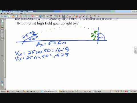 projectile motion kicking a field goal wmv youtube