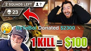 Donating $100 For Every Kill To Random Apex Legends Streamers on YouTube!!