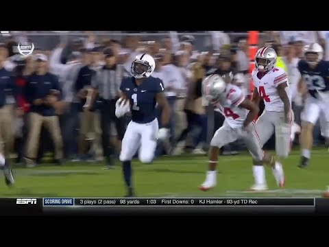 Penn State's KJ Hamler Catches A 93 Yard Touchdown Pass Vs. Ohio State
