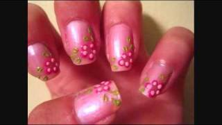 Pink Flowers with Green Leaves Nail Tutorial