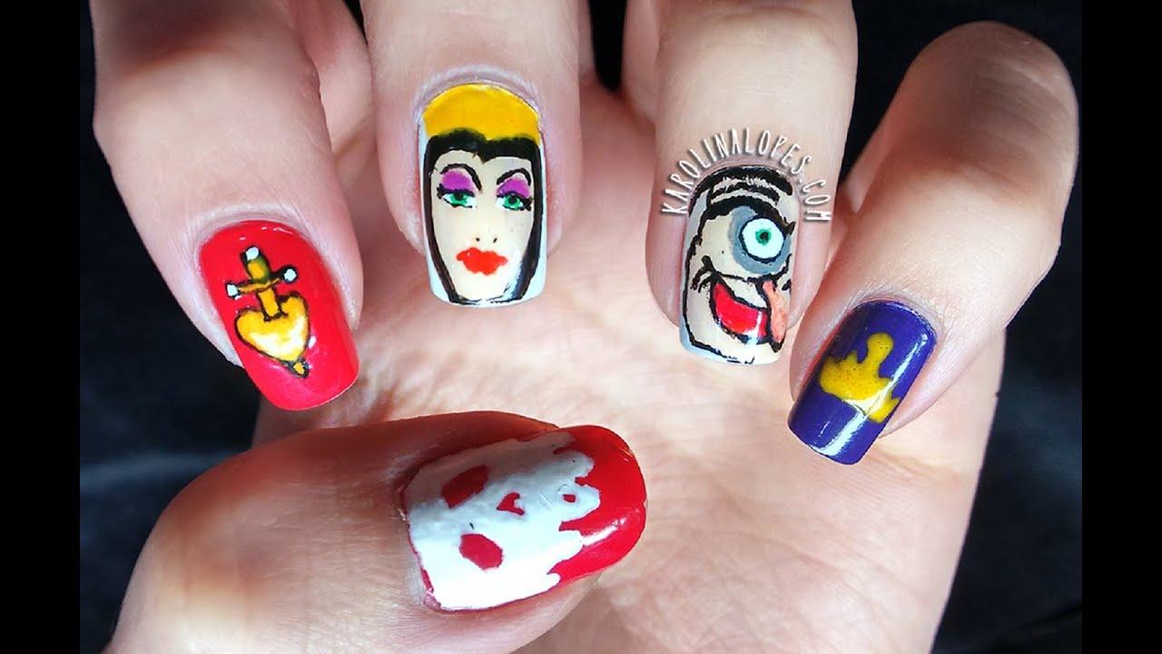 Nail Art Evil Queen For Halloween Rainha M Disney Villains