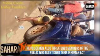 """Nigeria Police Brutality: """"Suspect"""" Chained to Van And Dragged on The Road"""