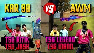FREEFIRE || BEST WAR OF TSG || AWM VS KAR98 😱 || TSG RITIK,JASH VS TSG LEGEND,MANN || BEST GAMEPLAY