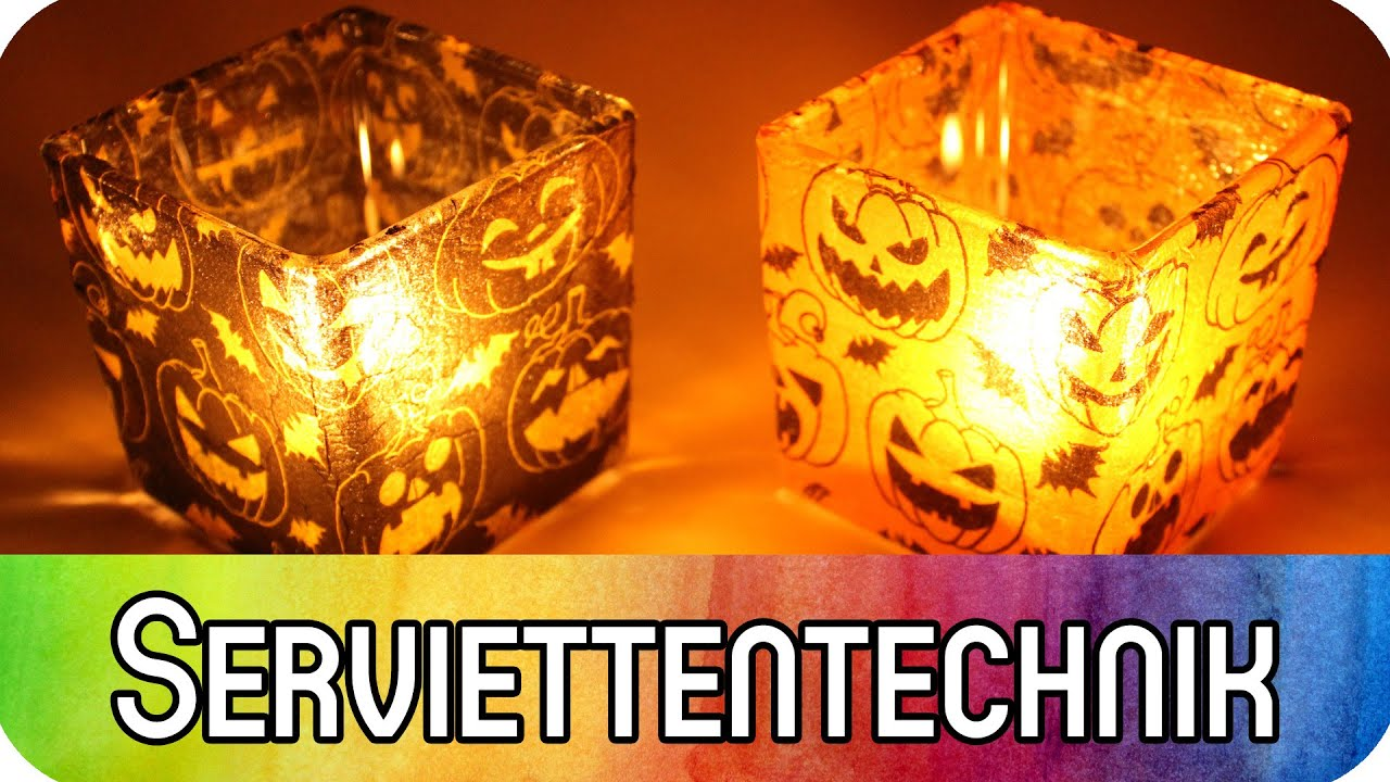 Diy Gläser Mit Serviettentechnik Dekorieren Spukige Teelichter Zu