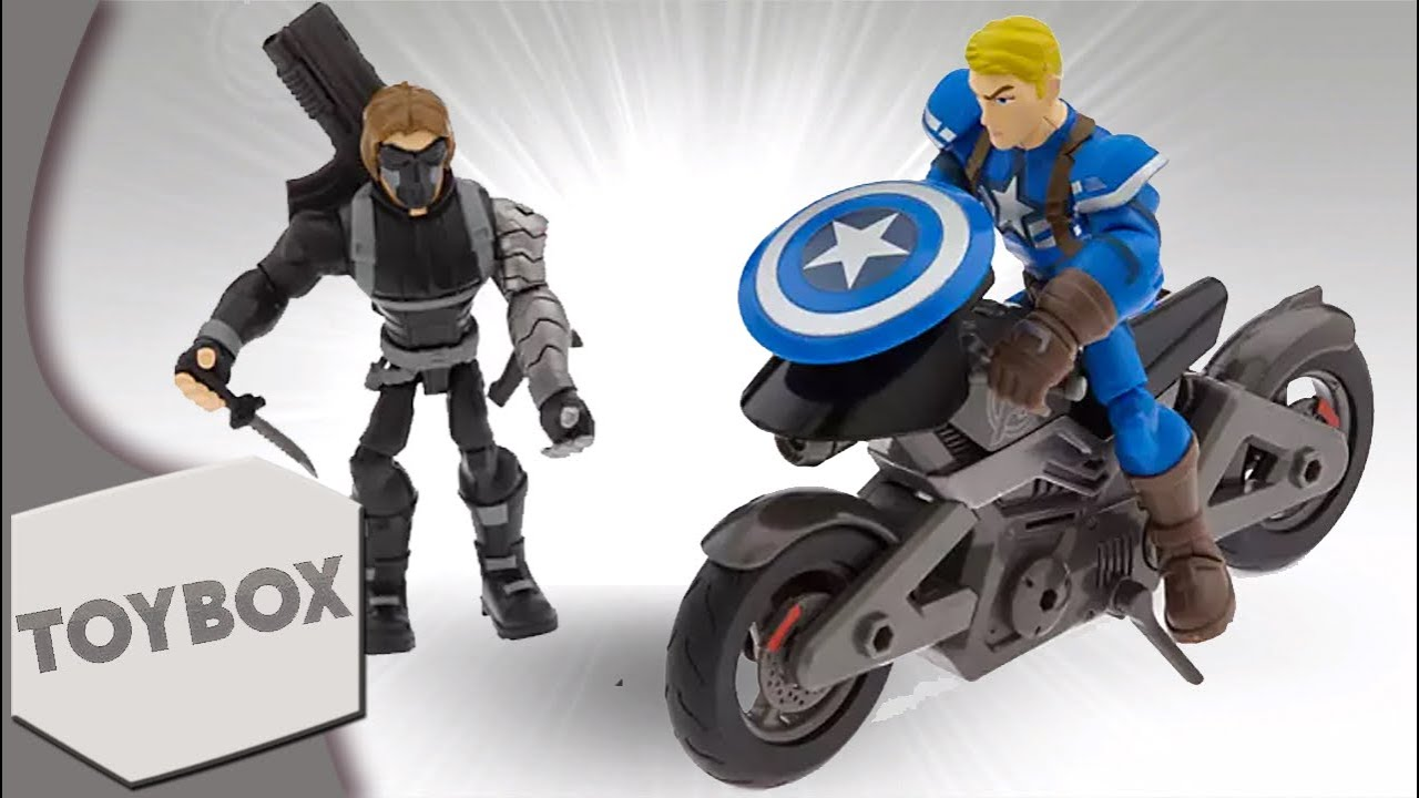 """Captain America & Winter Soldier Motorcycle Disney Infinity Inspired """"Toybox"""" Figures"""