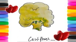 How to Draw Cauliflower Vegetable For Children | Cauliflower Coloring Page for Kids.