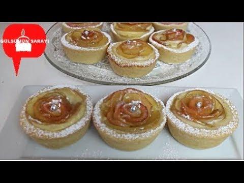 Elmali pudingli gül tart - elmali kurabiye - ELMALI TURTA - Apfel Rosen Cupcakes - GÜLSÜMÜN SARAYI