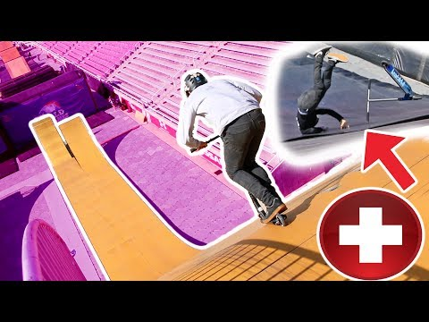 OVER ROATATED TRIPLE FRONTFLIP ON MEGA RAMP! *epic scooter fail*