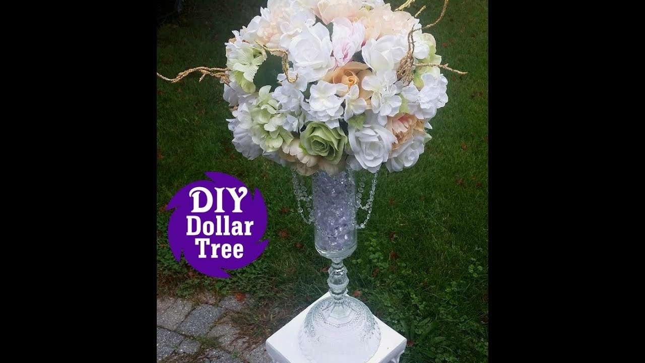 DIY Dollar Tree l Wedding Reception Table Centerpiece l Tall Flower Vase Tutorial & DIY Dollar Tree l Wedding Reception Table Centerpiece l Tall Flower ...