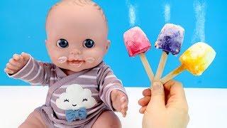 ЦВЕТНОЕ МОРОЖЕНОЕ ИЗ ЙОГУРТА Куклы Пупсики Игрушки Для детей Играем Как Мама