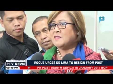Roque urges De Lima to resign from post