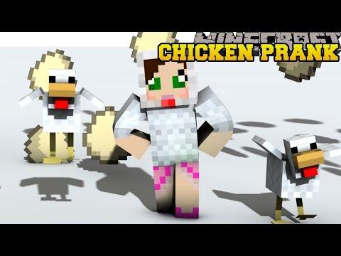 Minecraft: CRAZY CHICKEN PRANK! (SUPER BOUNCING, SILLY DIRT & TRAPS!) Custom Command