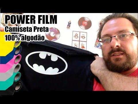 Power Film em Camiseta Preta de Algodão