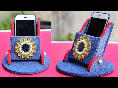 DIY homemade mobile phone holder with cardboard and old jeans