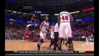 LeBron James Fight VS Nazr Mohammed (Chicago Bulls vs. Miami Heat) May 10 2013 (NBA)