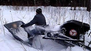 Мотобуксировщик Толкач Ураган на Родине Деда Мороза снег до 1.2 м