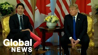 Trump, Trudeau meet on sidelines of NATO summit | FULL
