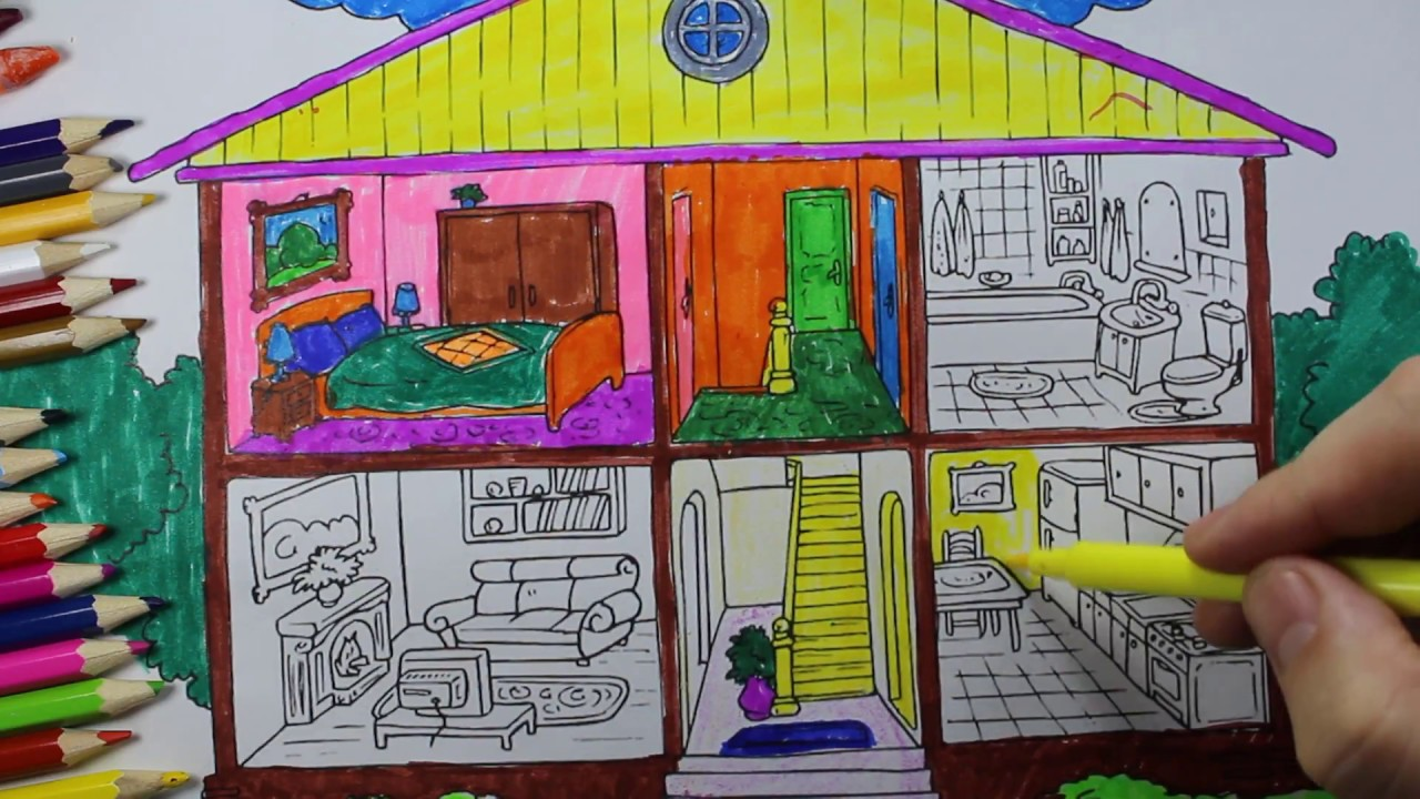 Coloring Pages Bathroom l Bedroom l Dining Room l Washroom ...