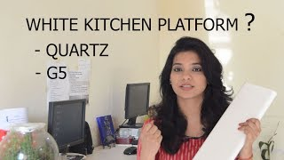 WHITE KITCHEN COUNTERTOPS INDIA, किचन पत्थर, KITCHEN QUARTZ IN HINDI, NANO WHITE G5, ASK IOSIS HINDI