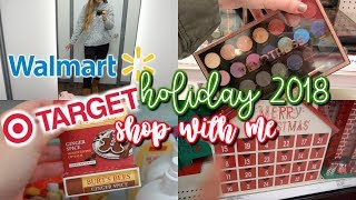 WALMART & TARGET HOLIDAY 2018 SHOP WITH ME |  NEW DRUGSTORE MAKEUP, SETS & CLOTHING TRY ON!