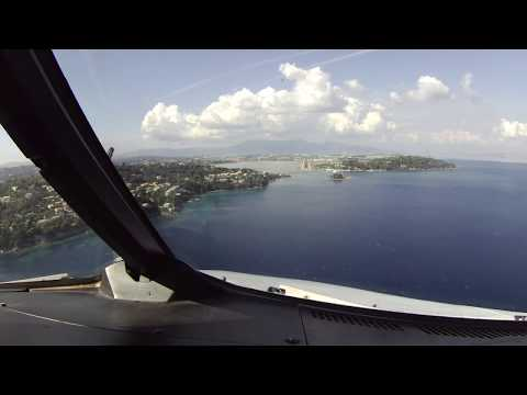 A320 Approach & Landing into Corfu Int'l Airport, Greece. Cockpit View.