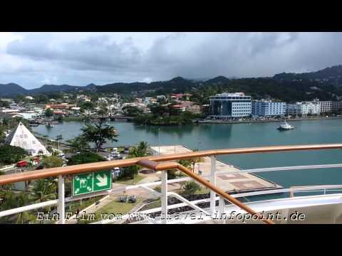 St. Lucia, Castries Hafen/karibischer Regen, Teil 15: AIDAluna Kreuzfahrt östliche Karibik (12/2013)
