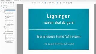 Min e-bog om ligninger (noterne fra mine videoer)