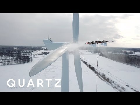 A giant drone that cleans industrial wind turbines