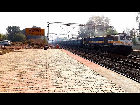 4 Hours late 12150 Danapur - Pune SF Express slowly skipping Hadapsar with 40507 WDP-4D of Pune