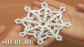 Easy to Crochet Snowflake Урок 36 Снежинка с бусинками простая
