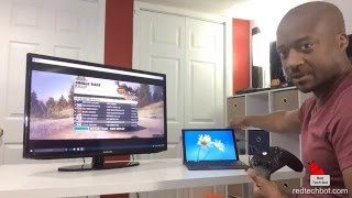Playing Dirt 3 Racing on Surface Pro 4 with XBOX 1 Controller and Wireless Streaming to TV