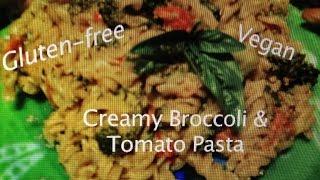 Meatless Monday - Creamy Vegan Broccoli Tomato Pasta - Gluten-free