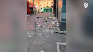 Litter fills Dublin's South William Street after crowds seen partying on Saturday night