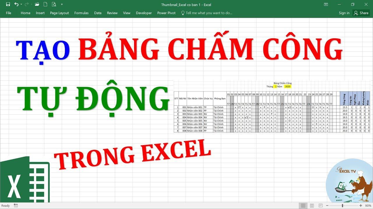 Tạo bảng chấm công tự động trong Excel theo ngày tháng năm