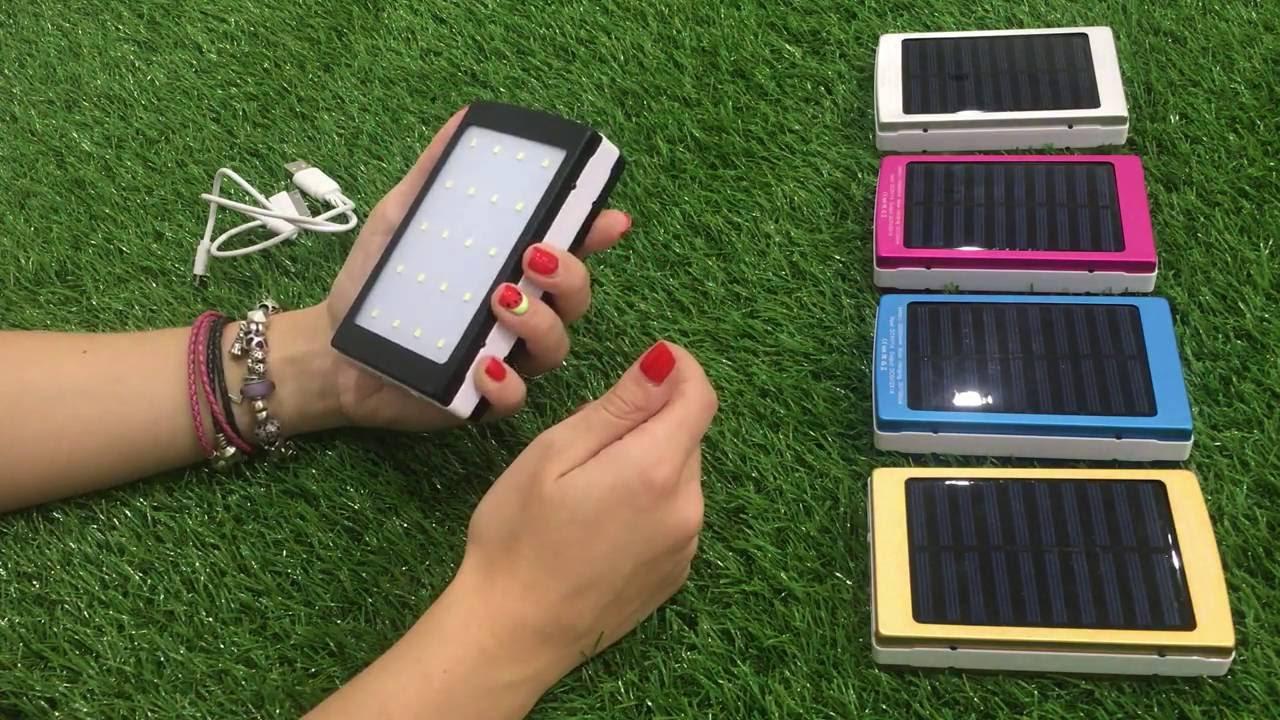 Power Bank 20000 mAh на солнечных батареях внешний аккумулятор для .