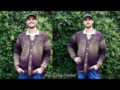 How To Crochet Mens Cardigan Sweater | A Sweater for Pat  | BAG O DAY CROCHET TUTORIAL #527