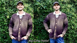 How To Crochet a Mens Cardigan Sweater | A Sweater for Pat | BAG O DAY CROCHET TUTORIAL #527