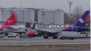 Timelapse of plane servicing in Domodedovo Airport, Moscow