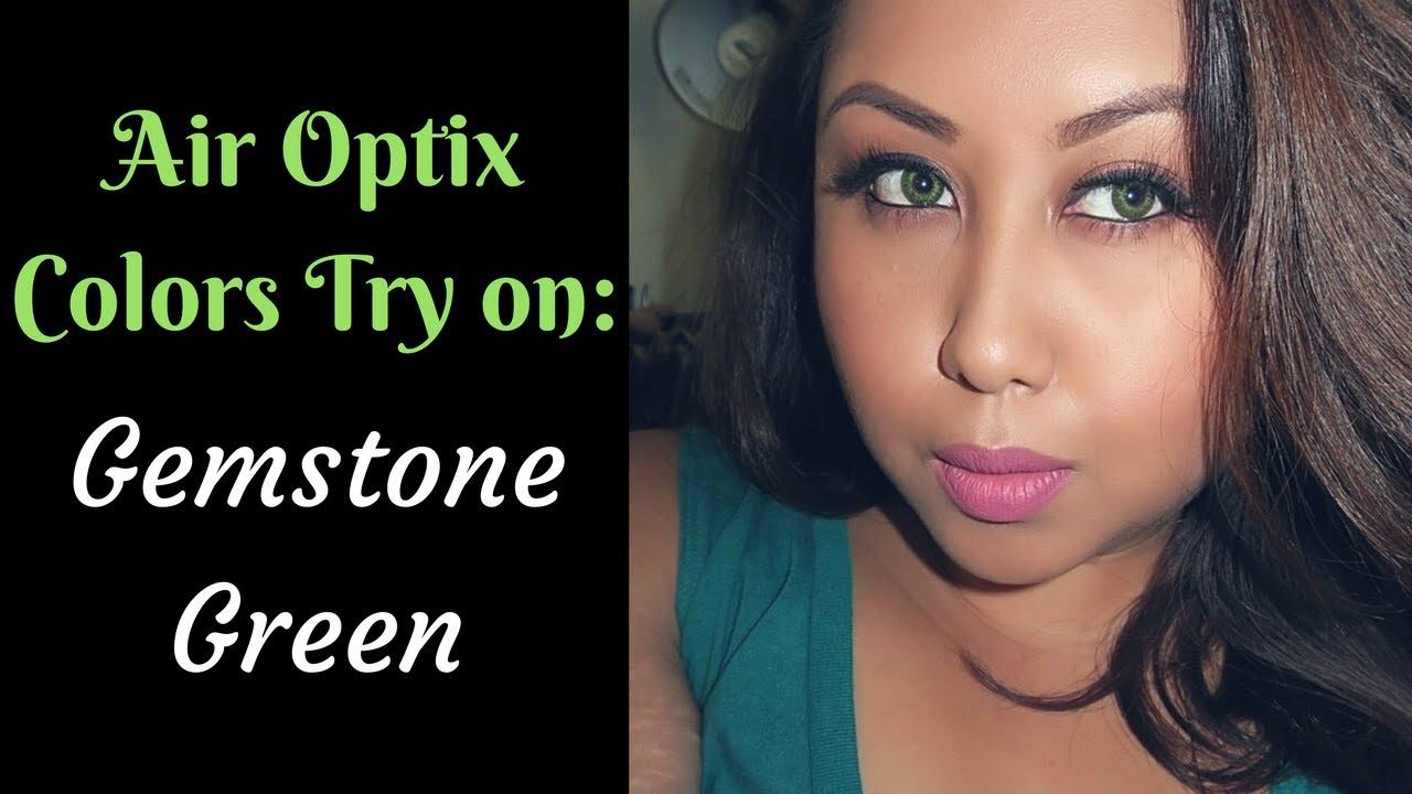 Air Optix Colors Try On Gemstone Green On Dark Brown Eyes