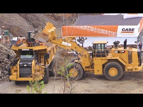 Caterpillar Demo Show: Cat 988K Wheelloader And 772G Mining Truck @ Steinexpo 2014