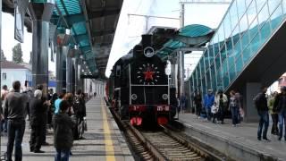 Отправление паровоза со станции Донецк 08/09/2013