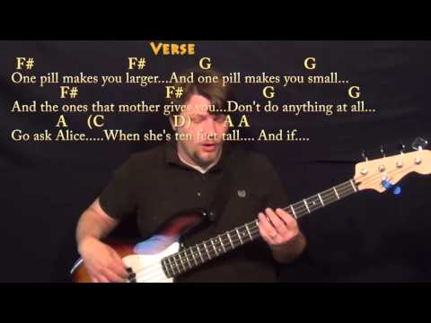 White Rabbit (Jefferson Airplane) Bass Guitar Cover Lesson with Chords/Lyrics