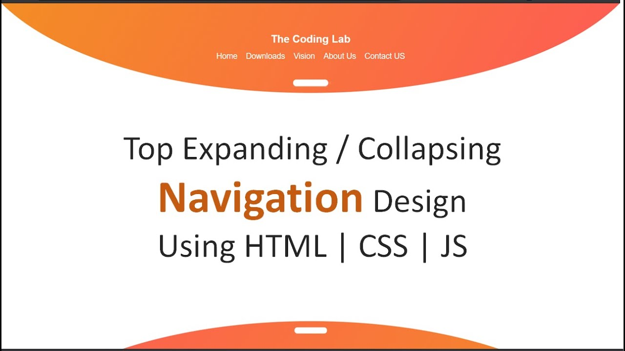 Collapsible Navigation design using HTML, CSS and JavaScript | Top fixed collapsible menu design