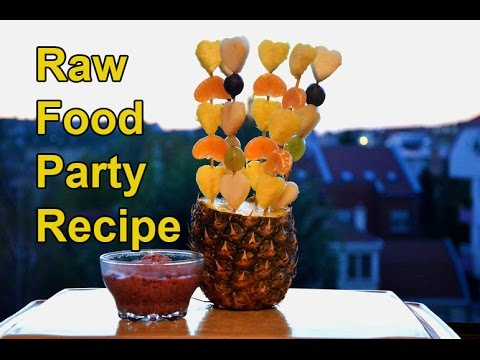 Raw Food Recipes - Party Fruit Kebabs With Berry Sauce