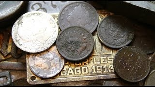 Metal Detecting 100 year old coins @ An 1890's Treasure Hunt Site #3_2014