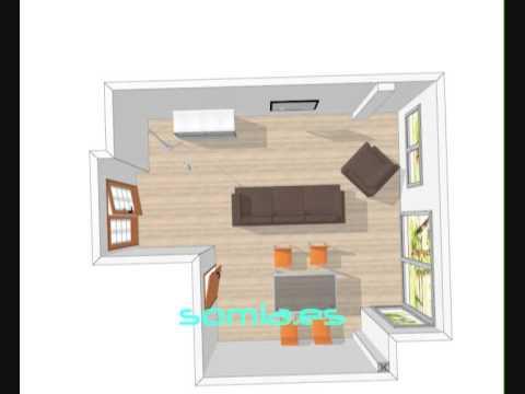Dise o 3d salon comedor valencia con varias distribuciones for Decorar un salon de 40 metros cuadrados