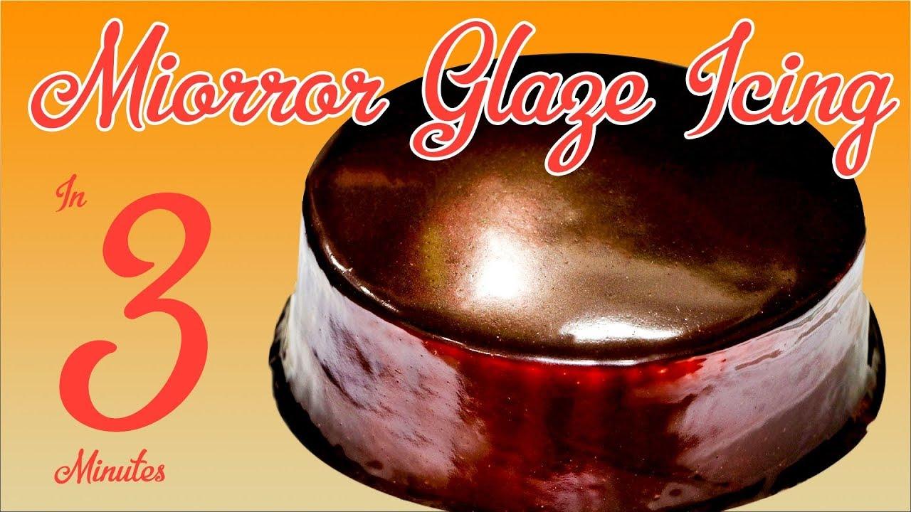 3 Min Chocolate Mirror Glaze Icing Recipe Eggless Easy Cake Tutorial