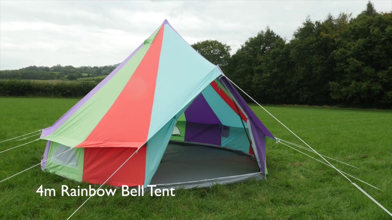 Boutique C&ing - 4m Rainbow Bell Tent & Boutique Camping - 4m Rainbow Bell Tent - YouTube